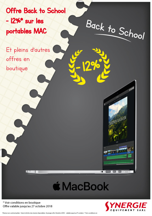 """Opération """"Back 2 School"""" chez votre revendeur agrée Apple SYNERGIE !!!"""